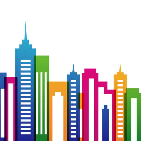 city live: Vector multicolor city buildings silhouette, abstract background. Concept for real estate agency, building company, urban landscape, city life.