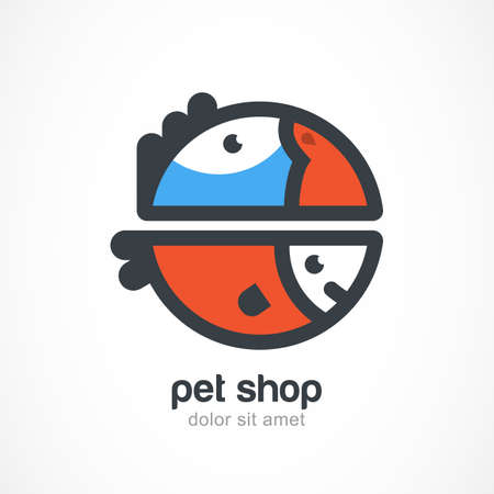Tropic bird and fish symbol. Vector logo design template. Abstract concept for pet shop, veterinary, zoo.