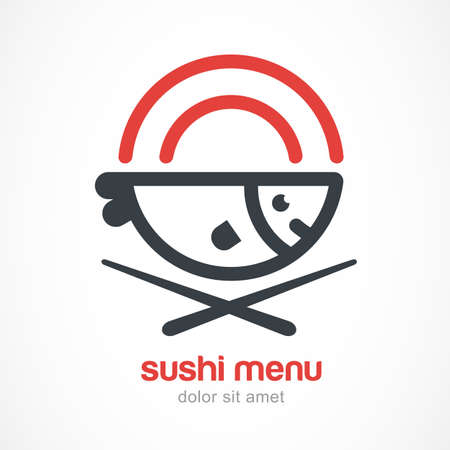 restaurant food: Fish, plate, chopsticks line illustration. Japanese cuisine vector logo design template. Abstract concept for sea food restaurant, sushi menu, bar, delivery of asian food. Illustration