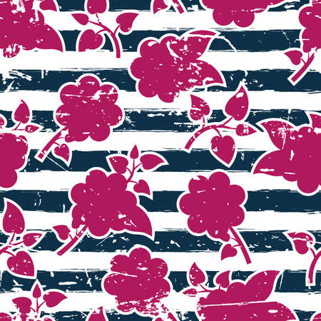 blue stripes: seamless floral pattern, watercolor blue stripes and pink flowers. Illustration