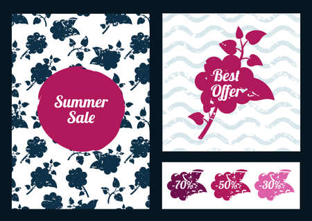 greetings card: Set of floral flyers.