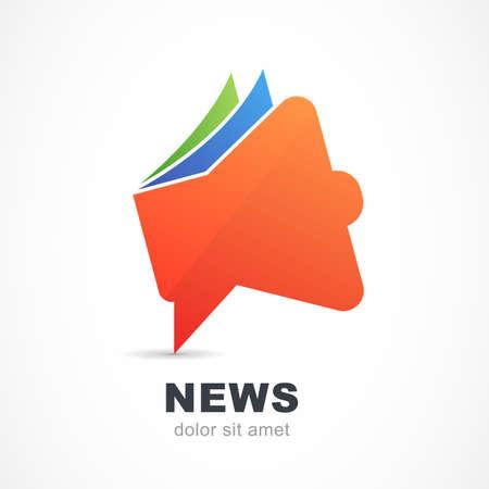 抽象的な赤いメガホン アイコン。ベクトルのロゴのデザイン テンプレートです。ニュース、ブランド、雑誌、広告コンセプト シンボル。