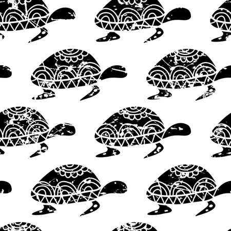 white background'abstract: Vector seamless pattern with hand drawn black turtle isolated on white background. Abstract summer and sea theme grunge texture. Illustration