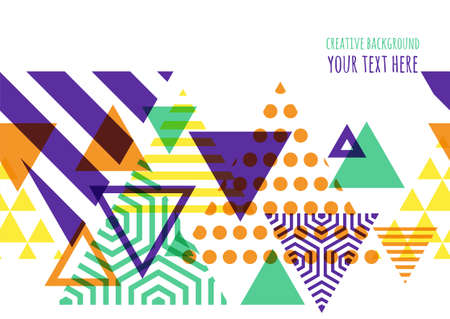 spots: Seamless vector geometric background with place for text. Abstract creative concept for flyer, greeting card, invitation, poster design. Triangle multicolor pattern.