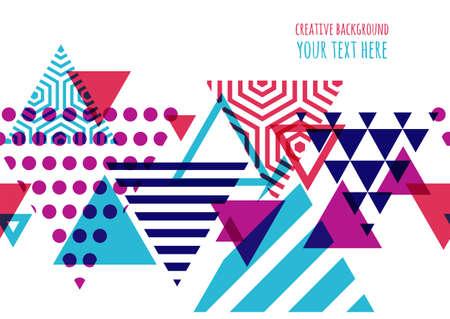 シームレスなベクトル幾何学的背景のテキスト。チラシ、招待状、グリーティング カード、ポスター デザインの抽象的な創造的な概念。三角形マル