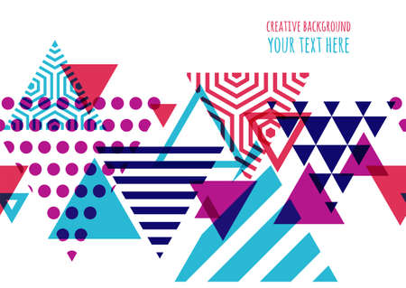 DESIGN: Seamless vector geometric background with place for text. Abstract creative concept for flyer, invitation, greeting card, poster design. Triangle multicolor pattern.