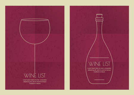 party drinks: Set of abstract line illustration, wine glass and bottle on grunge paper background. Concept for bar menu, party, alcohol drinks, celebration holidays, cocktail or wine list, flyer, poster design.