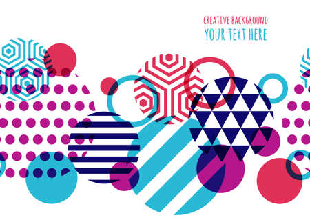 シームレスなベクトル幾何学的背景のテキスト。チラシ、招待状、グリーティング カード、ポスター デザインの抽象的な創造的な概念。サークル多