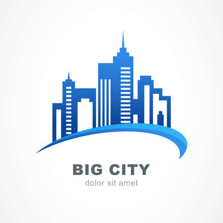 Blue city buildings silhouette. Vector logo design template. Abstract concept for real estate agency, building company, urban landscape, city life. Stock Illustratie