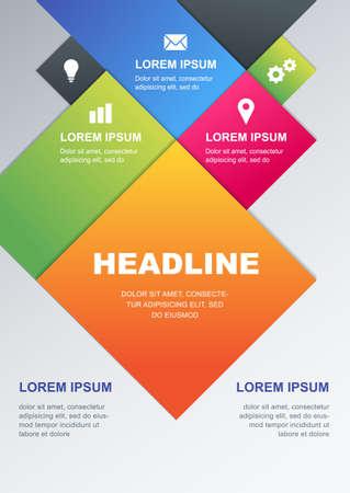 sjabloon: Vector design template. Concept voor het bedrijfsleven infographics, brochure, flyer, poster. Multicolor geometrische materiaal achtergrond met plaats voor tekst. Stock Illustratie
