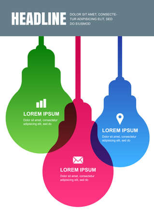 light abstract: Multicolor transparent lamp, vector design template. Concept for business infographics, brochure, flyer, poster. Material background with place for text.