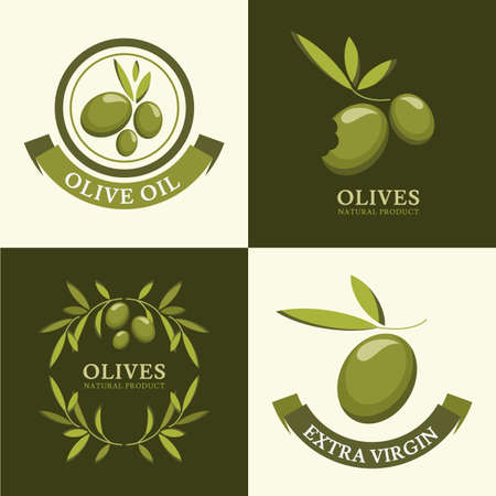 Set of vector olive logo, icons, labels. Agriculture, organic natural food concept.