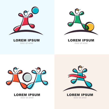 sports winner: Set of vector logo icons. Man with ball and winner ribbon, sports illustration. Concept for sports club, fitness, competition, marathon. Illustration