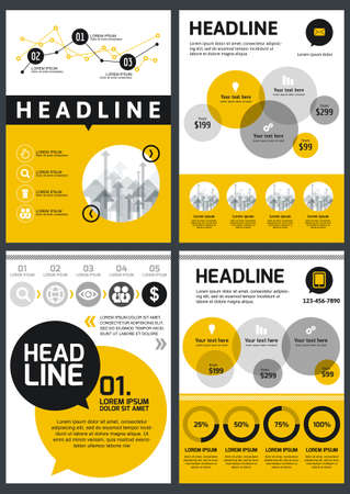 business presentation: Set of vector design template. Concept for brochure, flyer, poster, application and online service. Yellow, black, grey circles background. Illustration
