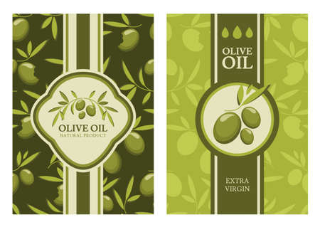 and organic: Set of vector olive seamless pattern, labels, stickers. Agriculture, organic natural food background. Concept for cafe, restaurant, menu, shop, flyer, banner, poster, packaging design.