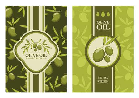 Set of vector olive seamless pattern, labels, stickers. Agriculture, organic natural food background. Concept for cafe, restaurant, menu, shop, flyer, banner, poster, packaging design.