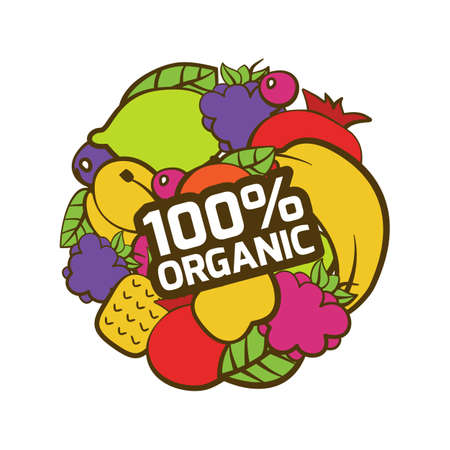 cartoon berries: Set of multicolor fruits in circle shape. Natural organic food label, sticker. Healthy food illustration background.