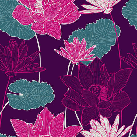 Vector seamless pattern with beautiful pink lotus flower and green leaves on purple background. Floral illustration.