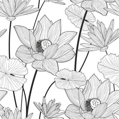 Vector naadloze patroon met mooie lotusbloem. Zwarte en witte bloemen lijn illustratie achtergrond. Stock Illustratie