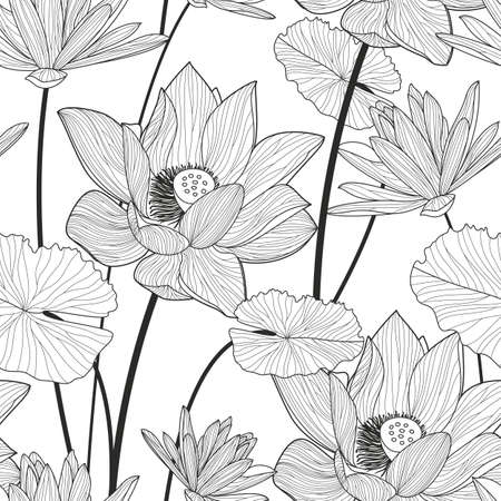 leaf line: Vector seamless pattern with beautiful lotus flower. Black and white floral line illustration background.