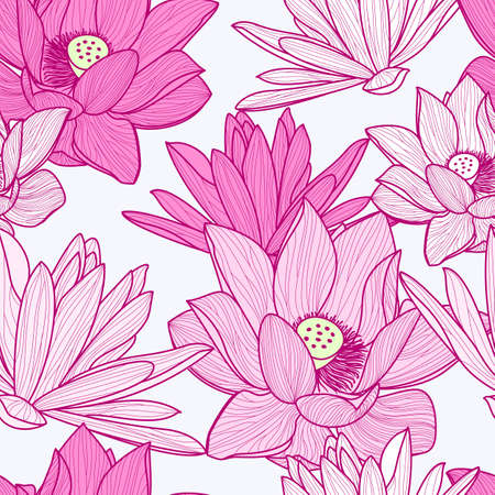 flower art: Vector seamless pattern with beautiful pink lotus flower. Floral illustration background. Illustration