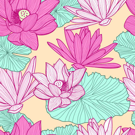 pink flower background: Vector seamless pattern with beautiful pink lotus flower and green leaves. Floral illustration background.