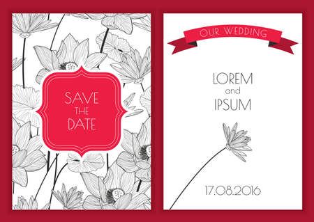 flyer party: Set of vector floral save the date greeting card. Hand drawn lotus flower seamless pattern background. Black, white, red colors illustration. Wedding invitation, birthday, flyer, banner design. Illustration