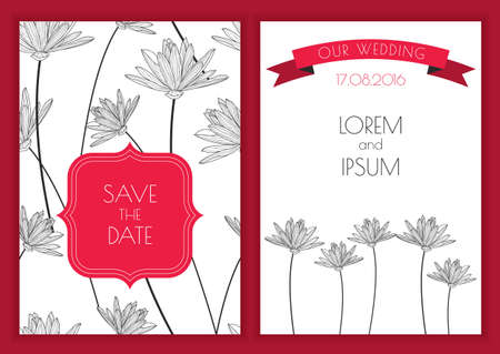 lotus: Set of vector floral background. Hand drawn lotus flower seamless pattern. Black, white, red colors illustration. Wedding invitation, birthday, save the date greeting cards, flyer, banner design. Illustration