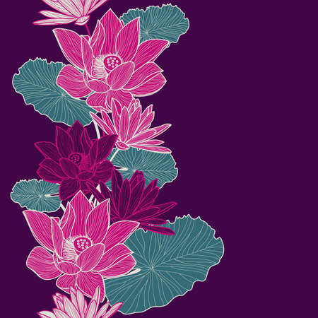 Vector seamless nature background with hand drawn beautiful pink lotus flower and green leaves. Floral illustration. Wedding, birthday or save the date greeting card. Ilustracja