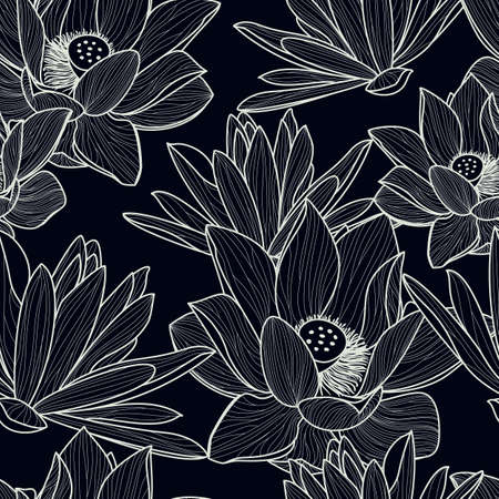 Vector seamless pattern with hand drawn beautiful lotus flower. Black and white floral line illustration background.