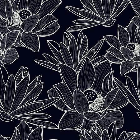 Vector naadloos patroon met hand getrokken mooie lotusbloembloem. De zwart-witte bloemenachtergrond van de lijnillustratie.