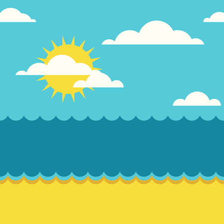 tropical beach panoramic: Vector summer seamless background with place for text. Blue sea, sun, clouds and sand beach flat illustration.