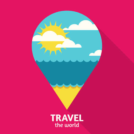 waypoint: Vector summer travel colorful abstract background with place for text. Blue sea, sun, clouds and sand beach in waypoint symbol shape. Flat design illustration. Illustration