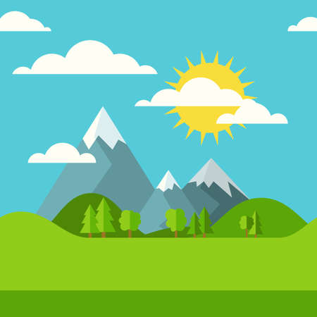 eco tourism: Vector summer or spring seamless landscape background. Green valley, mountains, hills, clouds and sun on the sky. Flat design nature illustration with place for text. Illustration