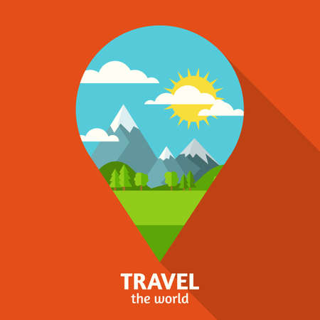 waypoint: Vector summer or spring landscape background. Green valley, mountains, hills, clouds and sun on the sky in waypoint symbol shape. Travel flat design with place for text.