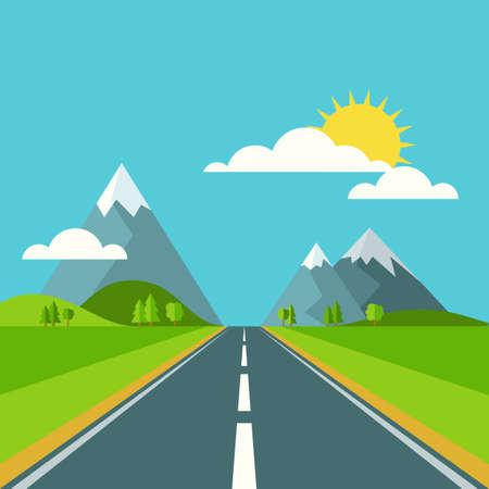carretera: Vector de verano o de fondo paisaje de primavera. Road en verdes valles, monta�as, colinas, nubes y sol en el cielo. Ilustraci�n naturaleza Dise�o plano.