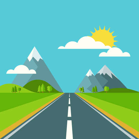 road travel: Vector summer or spring landscape background. Road in green valley, mountains, hills, clouds and sun on the sky. Flat design nature illustration.