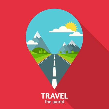 waypoint: Vector summer or spring landscape background. Road in green valley, mountains, hills, clouds and sun on the sky in waypoint symbol shape. Travel flat design with place for text.