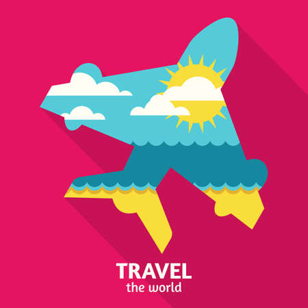 tropical beach panoramic: Vector summer travel colorful abstract background with place for text. Blue sea, sun, clouds and sand beach in airplane symbol shape. Flat design illustration.