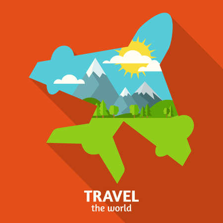 green hills: Vector summer or spring landscape background. Green valley, mountains, hills, clouds and sun on the sky in airplane symbol shape. Travel flat design with place for text. Illustration
