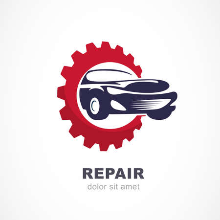 spare car: Vector flat illustration of sport car in gears cogs. Abstract logo design template. Concept for automobile repair service, spare parts store.