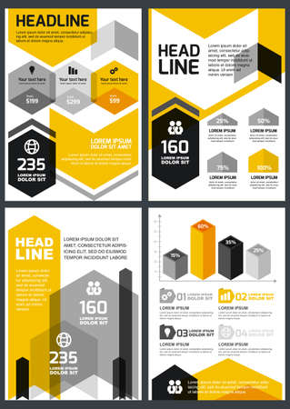 hexagon: Set of vector design template. Concept for brochure, flyer, poster, application and online service. Yellow, black, grey triangle, hexagon and polygon background.