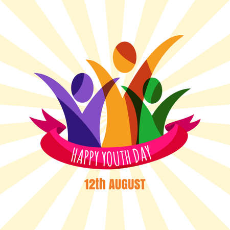 youth group: Multicolor abstract young happy people with ribbon. Design concept for international youth day celebrations. Greeting card, banner, flyer, poster background.