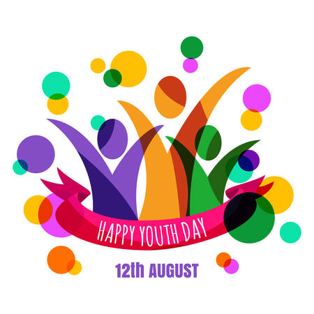 Multicolor abstract young happy people with ribbon and confetti background. Concept for international youth day celebrations. Greeting card, banner, flyer, poster design.