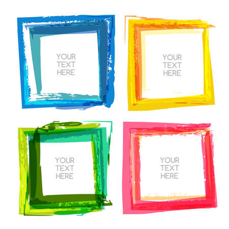 for text: Vector watercolor brush background. Set of multicolor abstract square frames with place for text. Banner, flyer, sticker, tag backdrop. Illustration