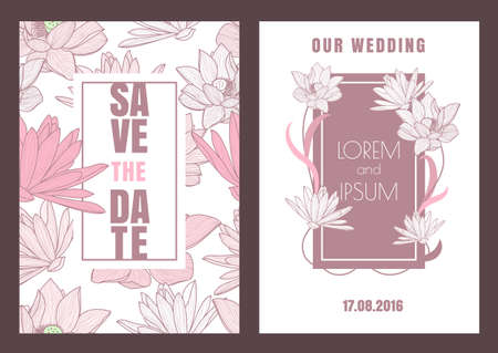 Set of vector floral save the date vintage card. Hand drawn lotus flower, seamless pattern background. Dirty pink pastel colors illustration. Wedding invitation, birthday, flyer, banner design. Ilustracja