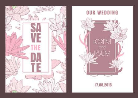 Set van vector bloemen sparen de datum vintage kaart. Hand getrokken lotusbloem, naadloze patroon achtergrond. Dirty roze pastel kleuren illustratie. uitnodiging van het huwelijk, verjaardag, flyer, banner ontwerp.