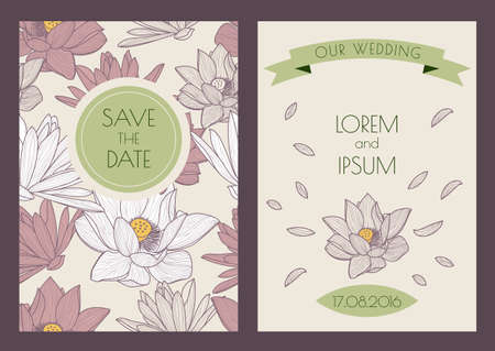 pastel backgrounds: Set of vector floral vintage backgrounds. Hand drawn lotus flowers, seamless pattern. Pastel colors illustration. Wedding invitation, save the date, birthday card, flyer, banner design. Illustration