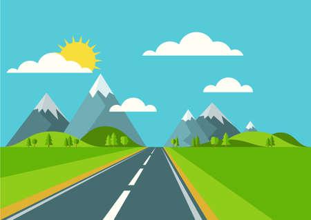 route: Vecteur fond de paysage. Road à Green Valley, montagnes, collines, nuages ??et le soleil sur le ciel. Le style plat illustration du printemps ou en été la nature.