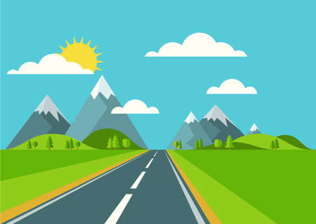 sky: Vector landscape background. Road in green valley, mountains, hills, clouds and sun on the sky. Flat style illustration of spring or summer nature.